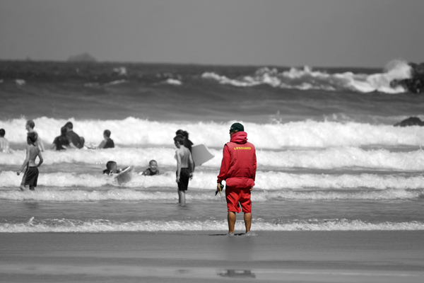 Lifeguard at Lusty Glaze, Newquay